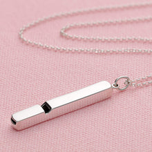 Engraved Long Silver Whistle Necklace - Lily Charmed
