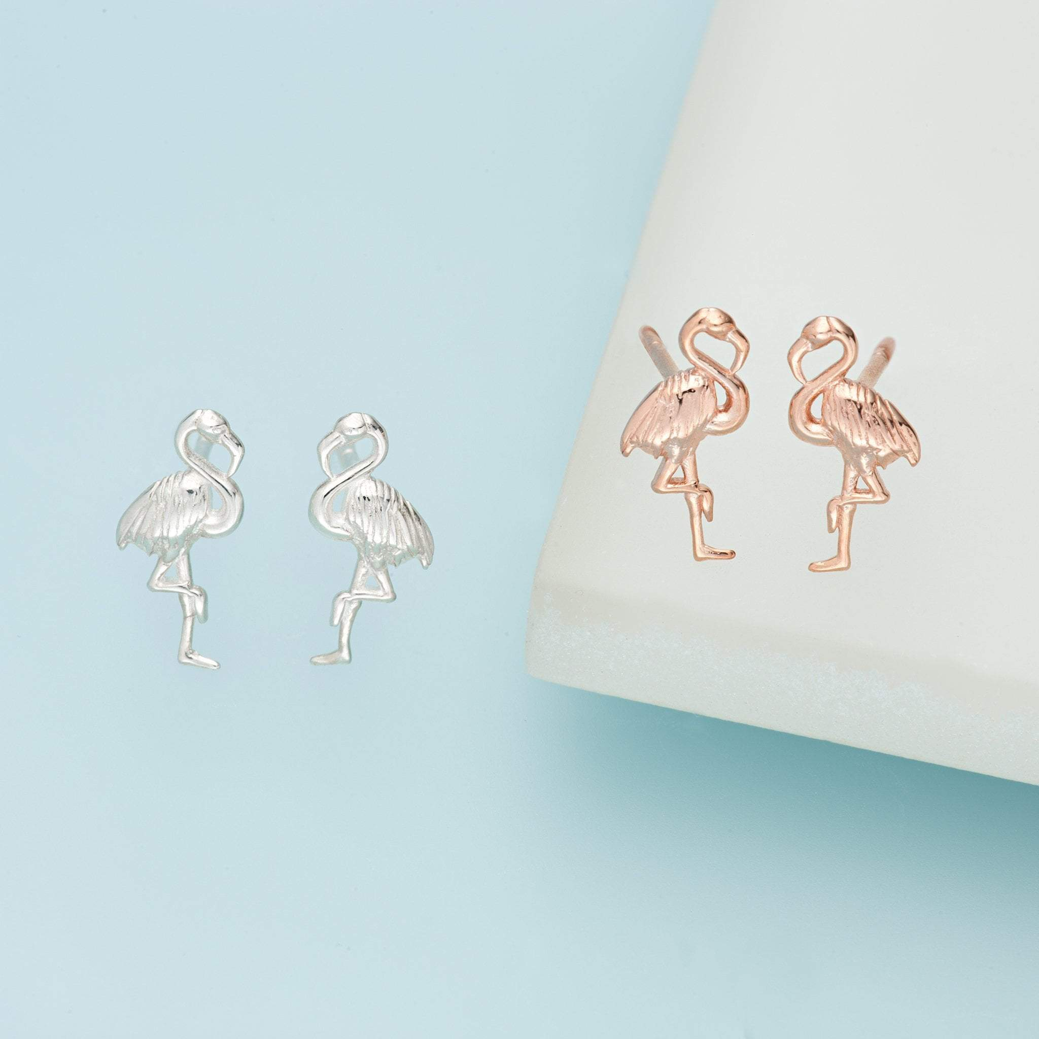 Silver Flamingo Stud Earrings - Lily Charmed