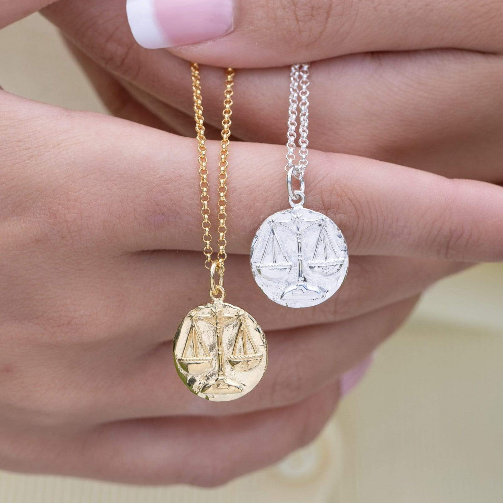 Engraved Gold Plated Libra Zodiac Necklace - Lily Charmed