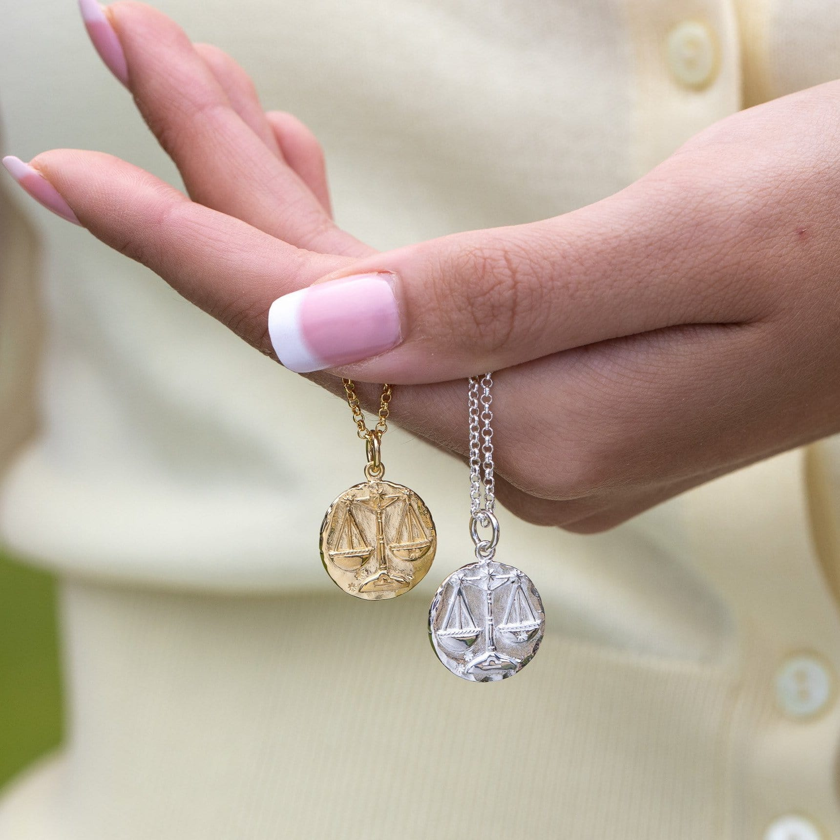Engraved Gold Plated Libra Zodiac Necklace