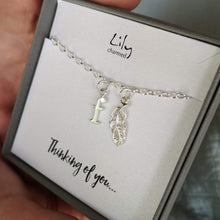 Personalised Silver Feather Charm Bracelet