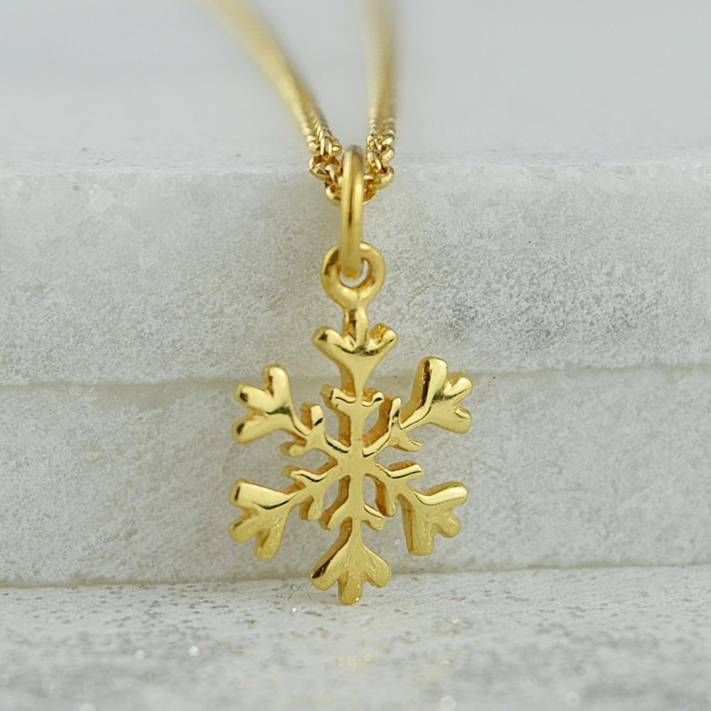 Personalised Gold Plated Snowflake Necklace - Lily Charmed
