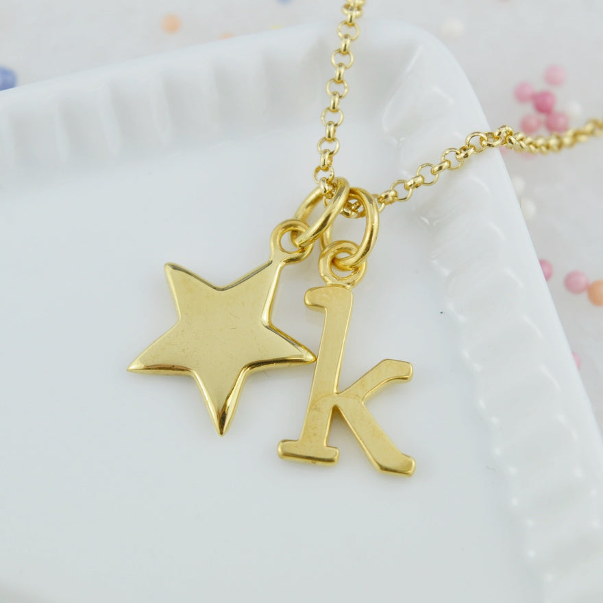 Personalised Gold Plated Solid Star Necklace - Lily Charmed
