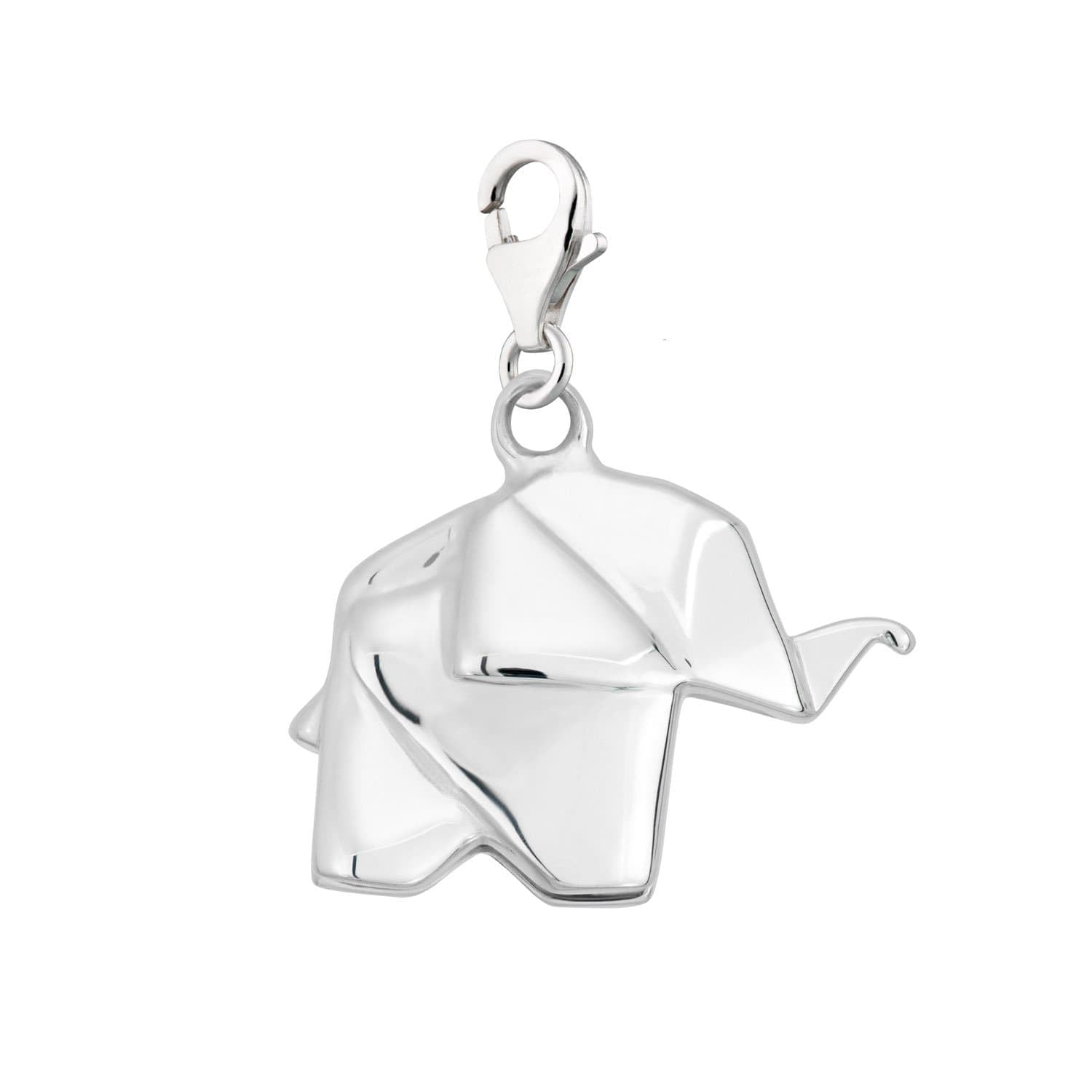Sterling Silver Origami Elephant Clip on Charm by Lily Charmed