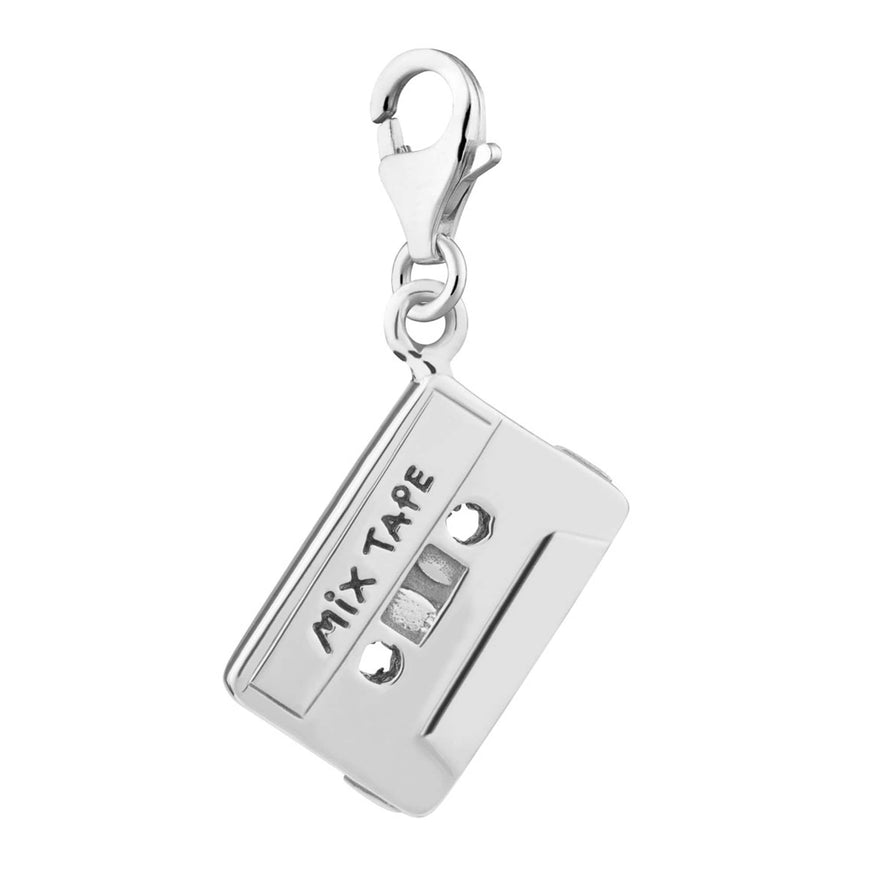 Silver Cassette Tape Charm