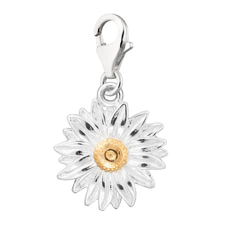 Lily Charmed Silver Clip-on Daisy Charm with Lobster Clasp