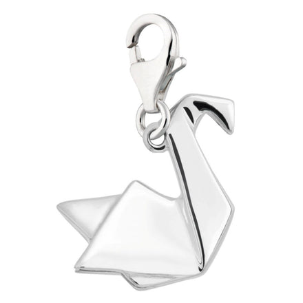 Silver Clip-on Origami Swan Charm with Lobster Clasp by Lily Charmed