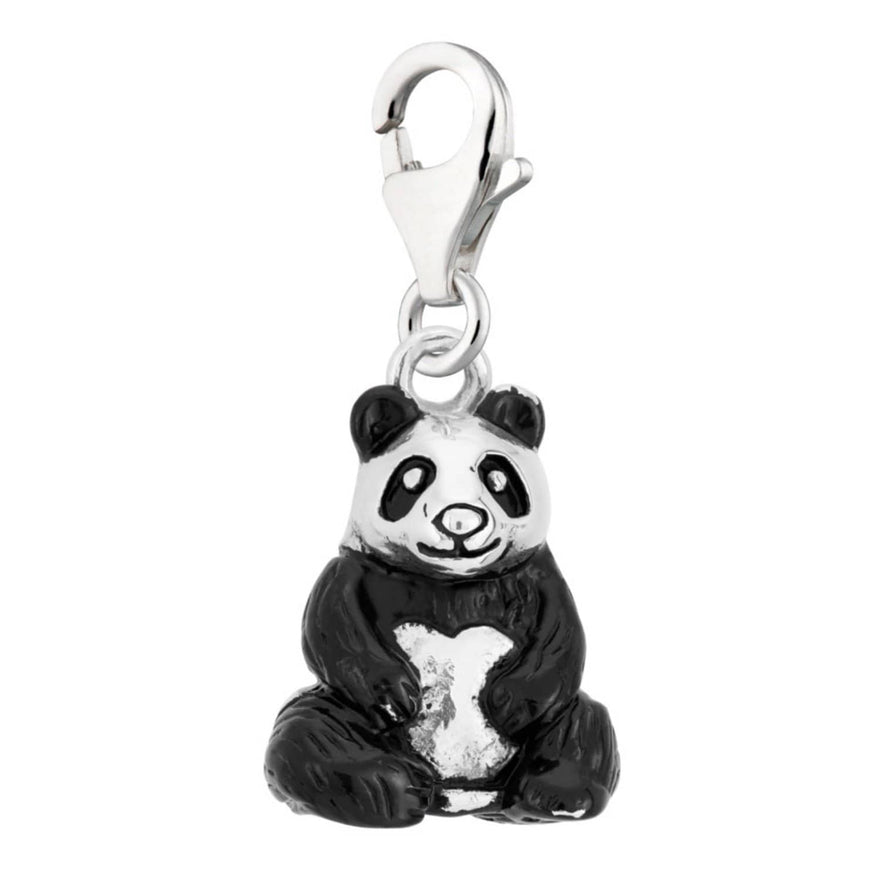 Silver Clip-on Panda Charm with Lobster Clasp by Lily Charmed