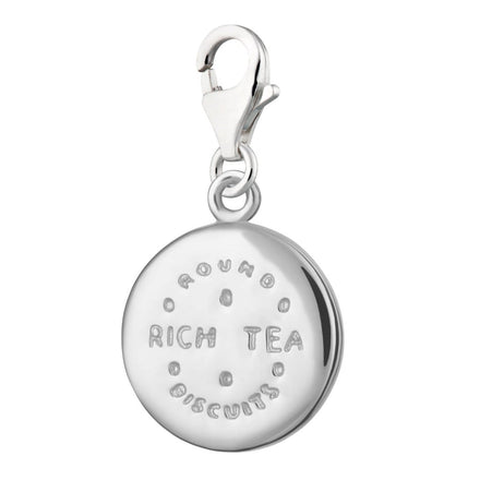 Silver Clip-on Rich Tea Biscuit Charm with Lobster Clasp by Lily Charmed