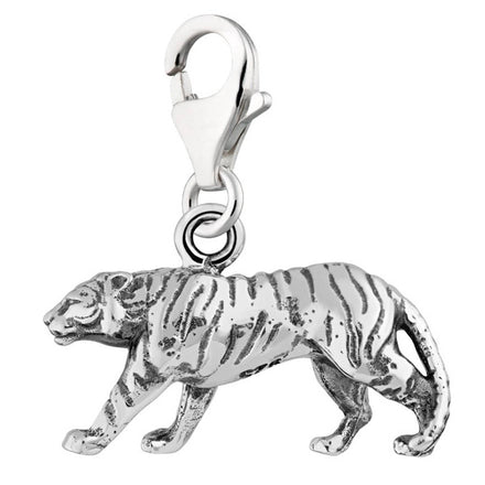 Silver Clip-on Tiger Charm with Lobster Clasp by Lily Charmed