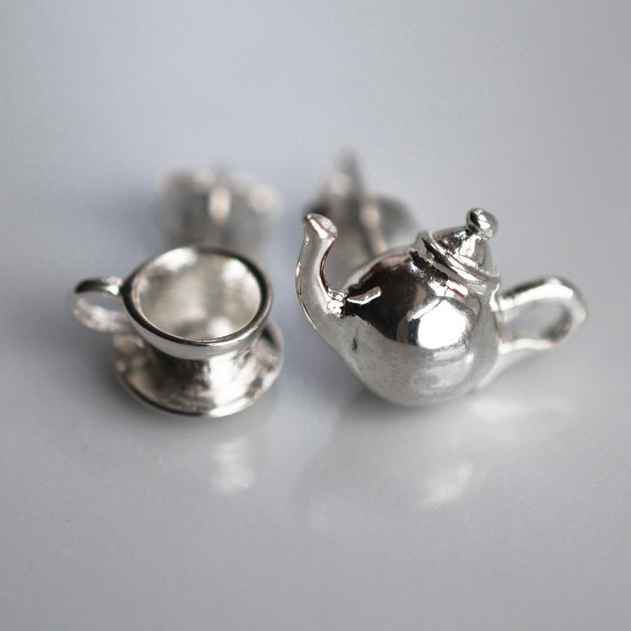 Silver Teapot Jewellery Set With Stud Earrings - Lily Charmed