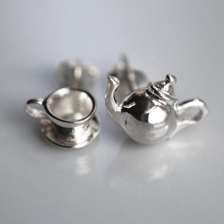 Silver Teapot Jewellery Set With Stud Earrings