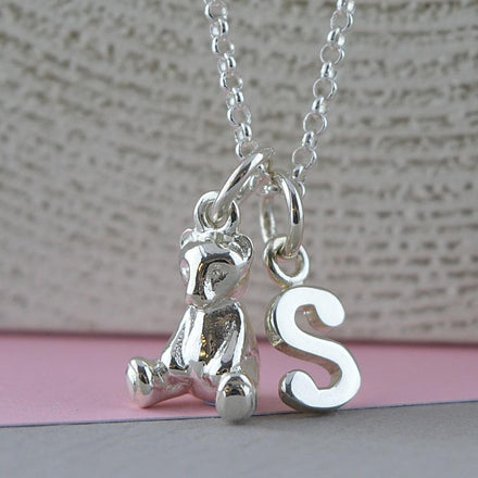 Children's Personalised Silver Teddy Bear Necklace - Lily Charmed