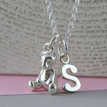 Personalised Silver Teddy Bear Necklace - Lily Charmed