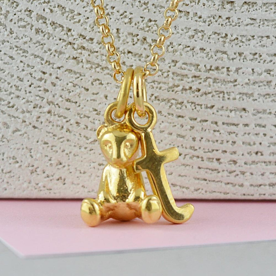 Personalised Gold Plated Teddy Bear Necklace - Lily Charmed