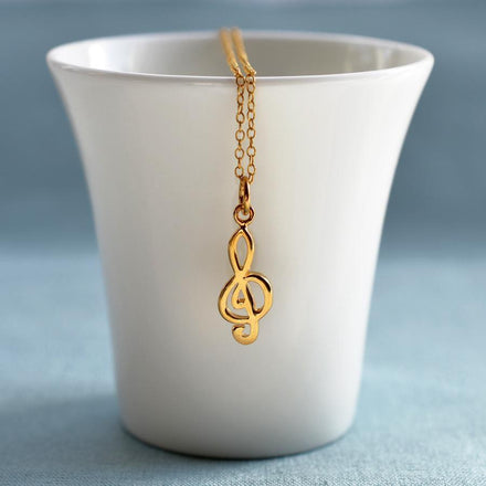 Personalised Gold Plated Treble Clef Necklace - Lily Charmed