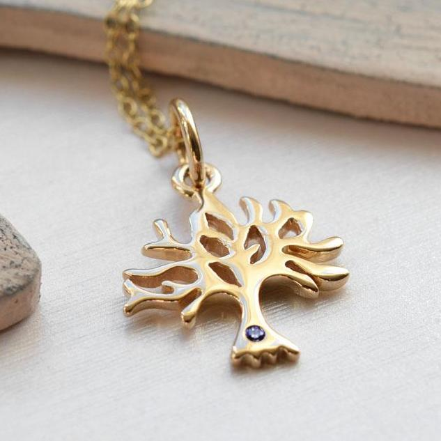 Personalised 9 Carat Gold and Sapphire Tree Necklace - Lily Charmed