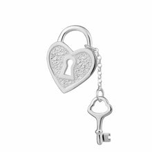 Silver Heart Shaped Padlock and Key Charm - Lily Charmed