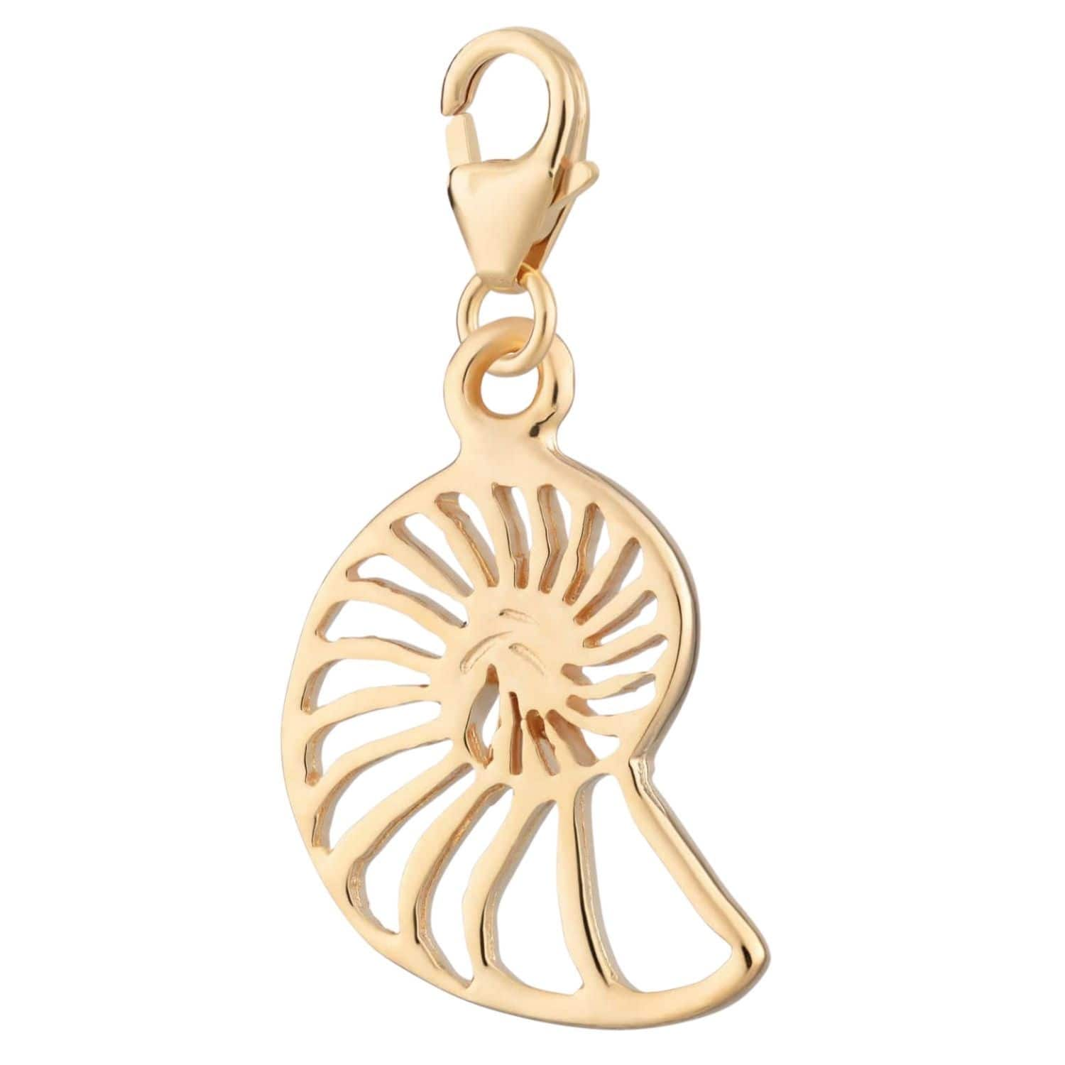 Gold Plated Shell Slice Charm - Lily Charmed