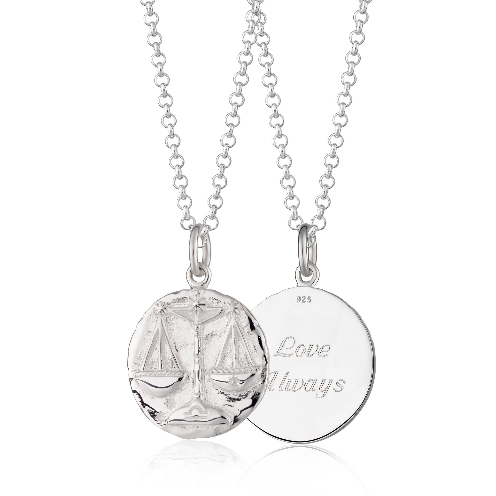 Engraved Silver Libra Zodiac Necklace - Lily Charmed