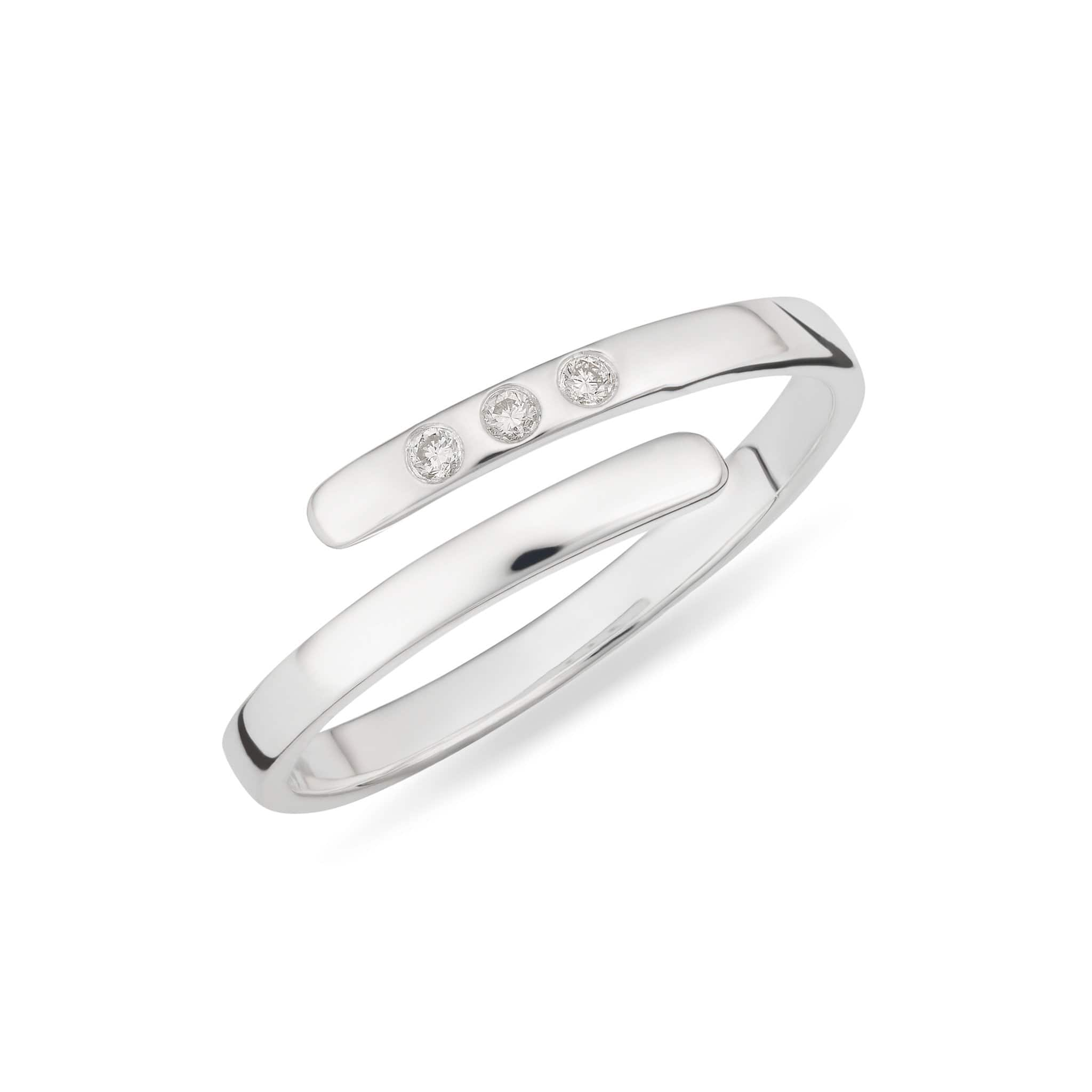April Birthstone Silver and Diamond Open Ring - Lily Charmed