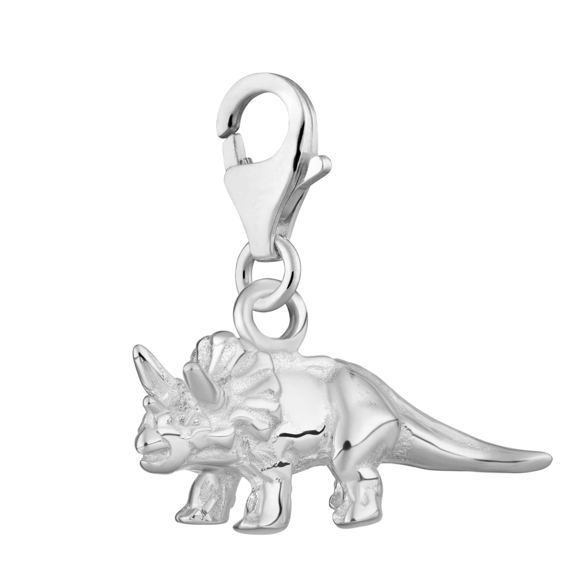 Silver Triceratops Charm - Lily Charmed