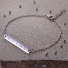 Engraved Silver Horizontal Bar Bracelet - Lily Charmed