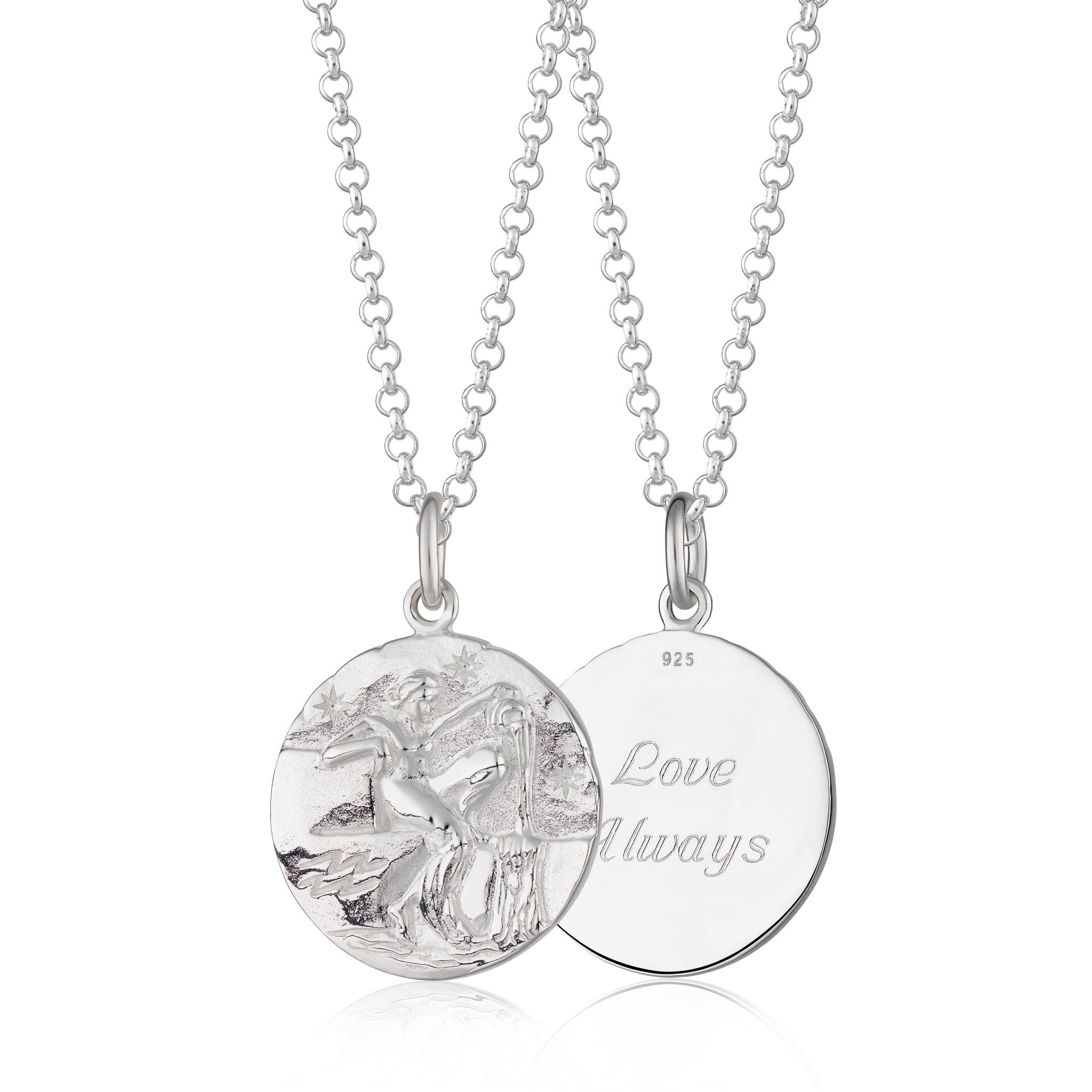 Engraved Silver Aquarius Zodiac Necklace - Lily Charmed