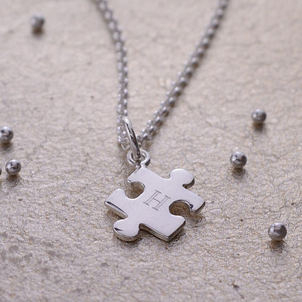 Engraved Silver Jigsaw Necklace - Lily Charmed