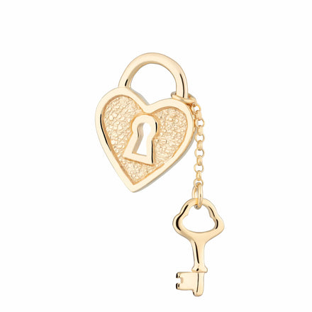 Gold Plated Heart Shaped Padlock and Key Charm - Lily Charmed