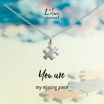 Silver Jigsaw Necklace with 'Missing Piece' Message