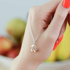 Personalised Silver Cherry Necklace