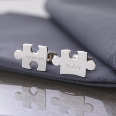 Engraved Silver Jigsaw Cufflinks - Lily Charmed