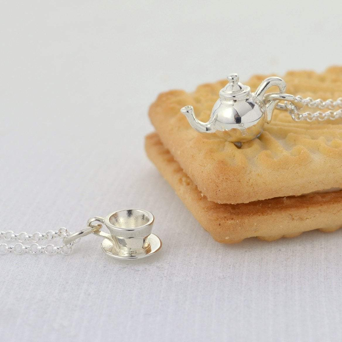 Personalised Silver Teapot Necklace - Lily Charmed