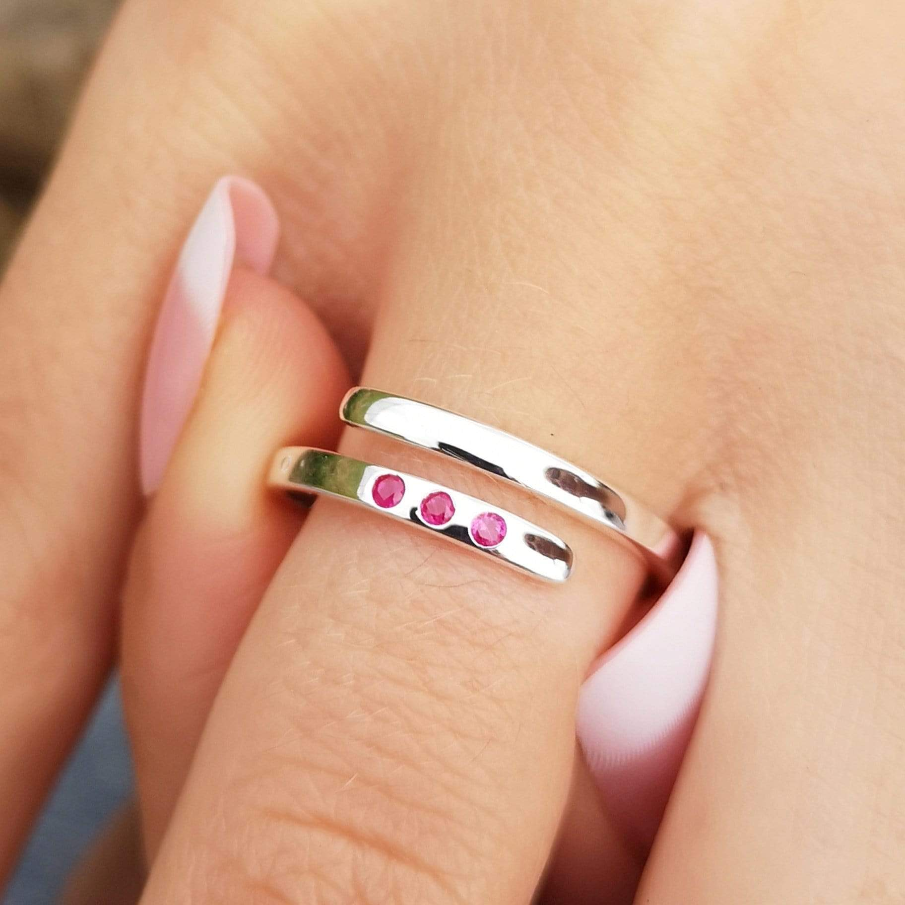 July Birthstone Open Ring, Ruby - Lily Charmed