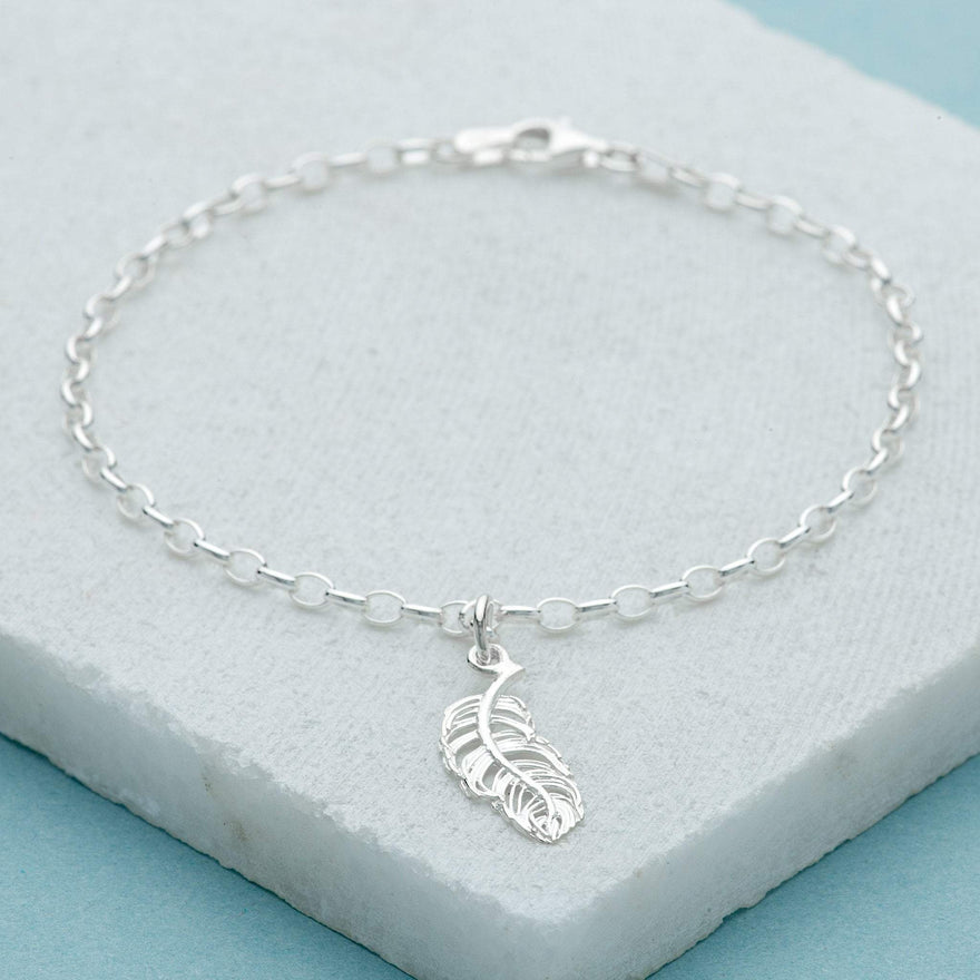 Personalised Silver Feather Charm Bracelet - Lily Charmed