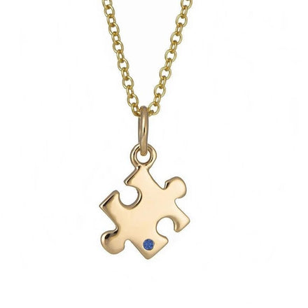 Personalised 9 Carat Gold and Sapphire Jigsaw Necklace - Lily Charmed