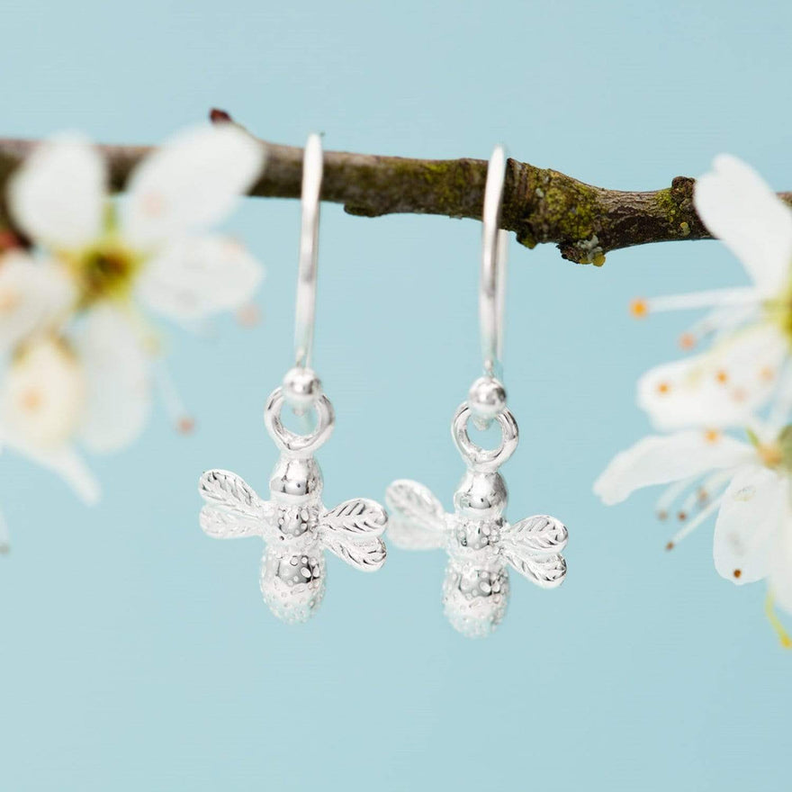 Silver Bee Hook Earrings