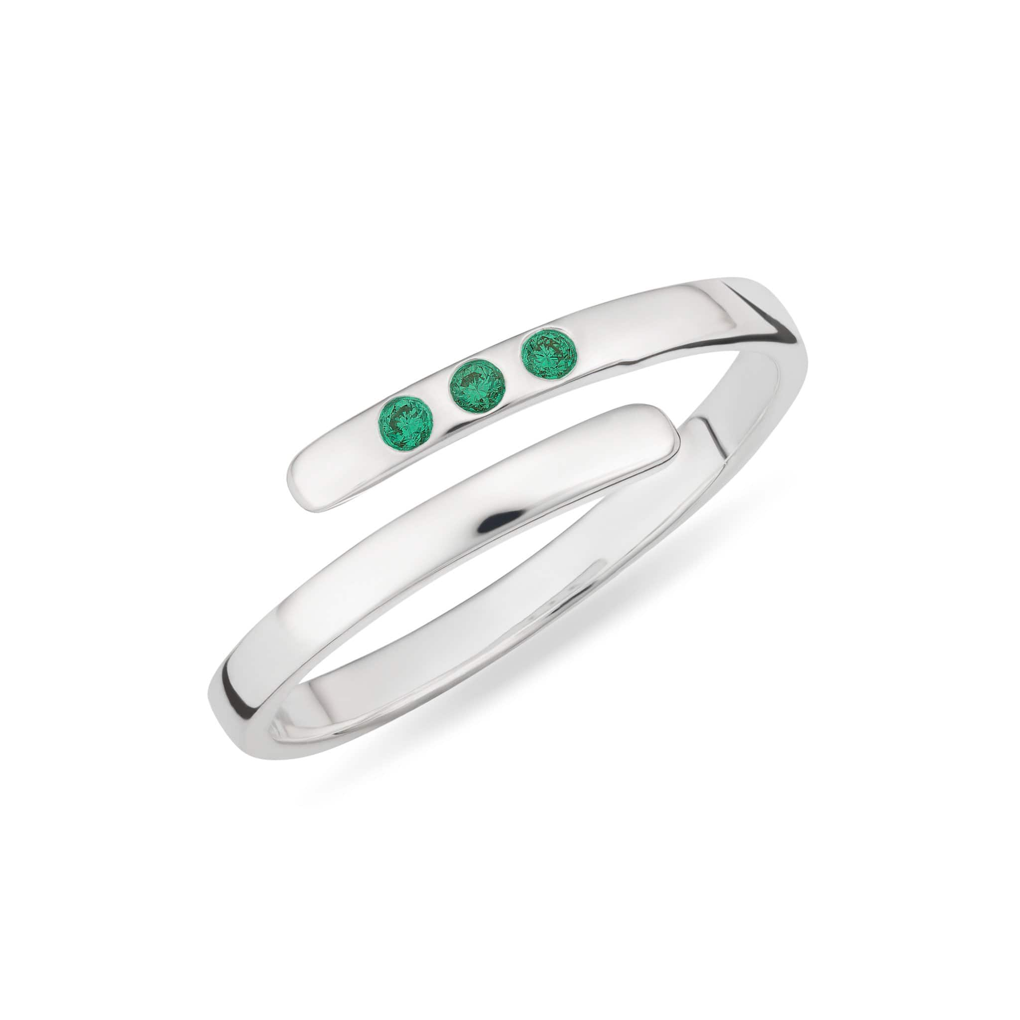 May Birthstone Silver and Emerald Open Ring - Lily Charmed