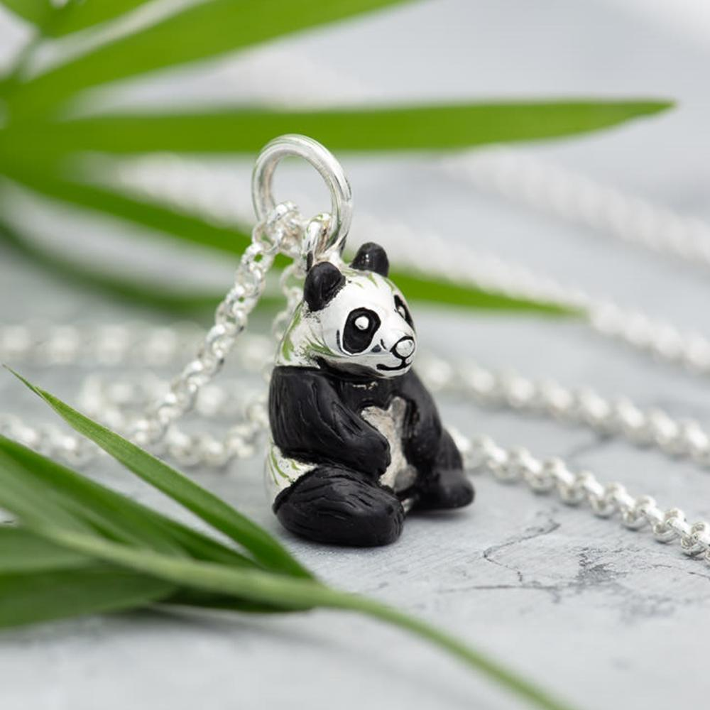 Personalised Silver Panda Necklace - Lily Charmed