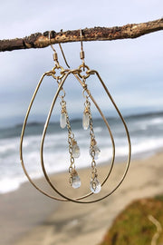 Teardrop Hoops with Moonstone Gem Triplet in Gold