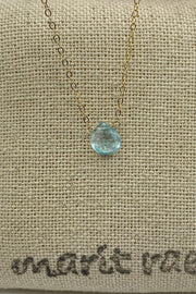 Choker Necklace with Floating Aquamarine Gemstone - 15 Inch