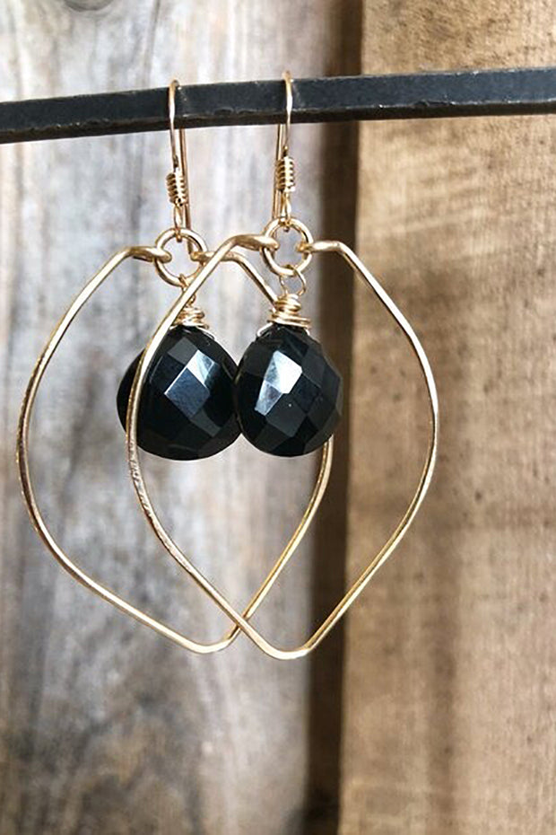 Leaf Hoops with Black Onyx center in Silver