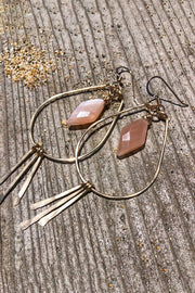 Teardrop Hoops and Hammered Spikes with Diamond Peach Moonstone Gem in Gold