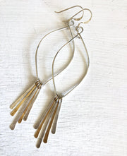 Fringe Leaf Hoops and Hammered Spkes in Mixed Metal
