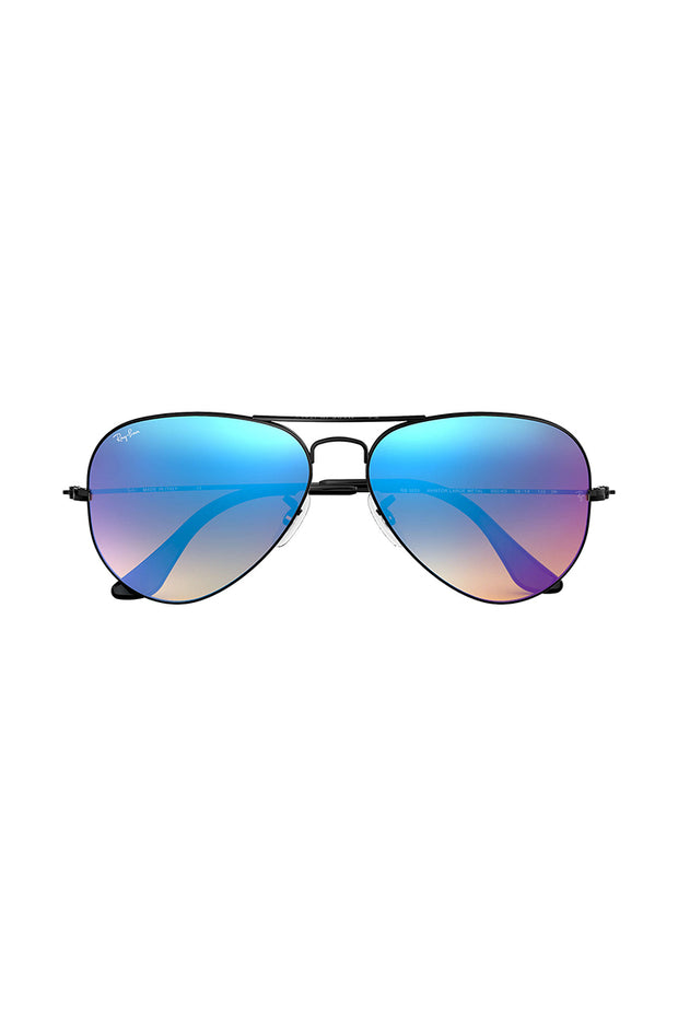 Aviator Flash Lenses Gradient Matte Black Metal w/ BROWN GRADIENT MIRROR BLUE METAL MAN SUNGLASS