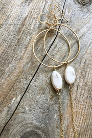 Oval Mother Of Pearl Drop Hoops in Gold