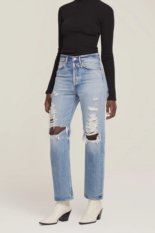 90's Mid Rise Loose Fit Denim in Major