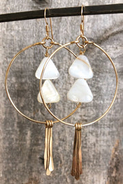 Circle Hoops and Hammered Spikes with White Mother of Pearl Triangles in Gold