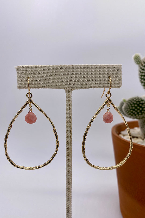 Hammered Teardrop Earring with Rodochrosite